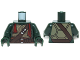 Part No: 973pb1756c01  Name: Torso Turtle Shell with Dark Brown Belts, Silver Buckles and Dark Red Bandana Pattern / Dark Green Arms / Dark Green Hands