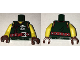 Part No: 973pb2550c01  Name: Torso Ninjago Vest with Red Clasps, Ninja Skull with Crossed Swords and Red Belt with Silver Buckle Pattern / Yellow Arms / Reddish Brown Hands