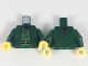 Part No: 973pb3024c01  Name: Torso Ninjago Female Robe over Bright Green Tunic with Sash and Black and Gold Trim Pattern / Dark Green Arms / Yellow Hands