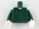 Part No: 973pb3235c01  Name: Torso Robe with Gathers, White Neck Pattern / Dark Green Arms / White Hands