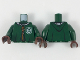 Part No: 973pb3314c01  Name: Torso Hooded Robe over Sweater, White Collar, Dark Orange Laces, Slytherin Patch Pattern / Dark Green Arms / Dark Brown Hands