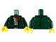 Part No: 973pb3753c01  Name: Torso Jacket with Pockets, Red Scarf, Tan Shirt Pattern / Dark Green Arms / Yellow Hands