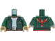 Part No: 973pb3782c01  Name: Torso Jacket with Silver Necklace, Buckle, and Zippers and Phoenix / Firebird Logo on Back Pattern / Dark Green Arms / Dark Tan Hands