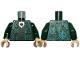 Part No: 973pb4130c01  Name: Torso Harry Potter Robe with Green and Medium Green Circles, Black Dress, Metallic Silver and Gold Medallion Pattern / Dark Green Arms / Light Nougat Hands