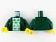 Part No: 973pb4134c01  Name: Torso Hoodie, White Shirt with Bright Green Blacktron 'B' Pattern / Dark Green Arms / Yellow Hands