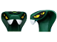 Part No: 98150pb01  Name: Minifigure, Head Modified Snake with 4 Yellow Eyes and Lime Scales Pattern (Spitta)