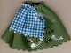 Part No: belvskirt22  Name: Belville, Figure Accessory Clothes Skirt Long, Spiders, Web and Fishbones Pattern with Blue and White Check Apron
