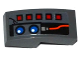 Part No: 11477pb037L  Name: Slope, Curved 2 x 1 with 5 Red Buttons, 2 Blue Lights and Red Wire Pattern (Sticker) - Set 70601