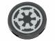 Part No: 14769pb260  Name: Tile, Round 2 x 2 with Bottom Stud Holder with SW Imperial Logo on Dark Bluish Gray Background Pattern (Sticker) - Set 75262