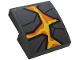 Part No: 15068pb206  Name: Slope, Curved 2 x 2 with Dark Bluish Gray Rock, Orange and Yellow Lava Pattern (Sticker) - Set 76128