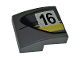 Part No: 15068pb238L  Name: Slope, Curved 2 x 2 with Black Number 16 and Double Yellow Stripes on Dark Bluish Gray Background Pattern Model Left Side (Sticker) - Set 75877