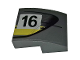 Part No: 15068pb238R  Name: Slope, Curved 2 x 2 with Black Number 16 and Double Yellow Stripes on Dark Bluish Gray Background Pattern Model Right Side (Sticker) - Set 75877