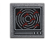 Part No: 15210pb016  Name: Road Sign Clip-on 2 x 2 Square Open O Clip with Computer Screen with White Concentric Circles, and 6 Red Shapes Pattern (Sticker) - Set 76051