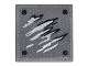 Part No: 15210pb017  Name: Road Sign Clip-on 2 x 2 Square Open O Clip with Black and Silver Scratches and 4 Rivets Pattern 1 (Sticker) - Set 76051