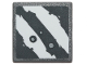 Part No: 15210pb056  Name: Road Sign Clip-On 2 x 2 Square Open O Clip with 2 Rugged White Diagonal Stripes and Blaster Marks on Dark Bluish Gray Background Pattern (Sticker) - Set 75254