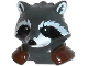 Part No: 17013pb01  Name: Minifigure, Head Modified Raccoon with Reddish Brown Shoulder Pads Pattern (Rocket)