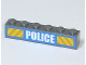 Part No: 3009pb122  Name: Brick 1 x 6 with White 'POLICE' Bold Narrow Font and Yellow Diagonal Stripes on Blue Pattern (Sticker) - Set 7743