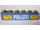 Part No: 3009pb178  Name: Brick 1 x 6 with White 'POLIZEI' Bold Narrow Font and Yellow Diagonal Stripes on Blue Pattern (Sticker) - Set 7743