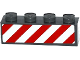 Part No: 3010pb188  Name: Brick 1 x 4 with Red and White Danger Stripes (White Corners) Pattern on One Side (Sticker) - Set 60080