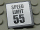Part No: 30258pb033  Name: Road Sign 2 x 2 Square with Clip with 'SPEED LIMIT 55' Pattern (Sticker) - Set 8681