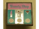 Part No: 30258pb038  Name: Road Sign Clip-On 2 x 2 Square with 'Beauty Shop', Lipstick, Paintbox, Brush, 7, 15 and 12 Pattern (Sticker) - Set 3187
