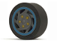 Part No: 30838pb01c01  Name: Wheel 11mm D. x 6mm with 7 Slanted Spokes with Blue Rim Edge and Yellow Bolts Pattern with Black Tire 14mm D. x 6mm Solid Smooth (30838pb01 / 50945)