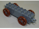 Part No: 31174c04  Name: Duplo Car Base 2 x 8 x 1 1/2 with Large Reddish Brown Spoked Wheels