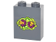 Part No: 3245cpb041  Name: Brick 1 x 2 x 2 with Inside Stud Holder with Magenta and Bright Light Orange Flowers and Lime Leaves Pattern (Sticker) - Set 41175