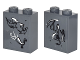 Part No: 3245cpb045  Name: Brick 1 x 2 x 2 with Inside Stud Holder with 2 Dragons and Horn Front, 1 Dragon and Figure Back on Transparent Background Pattern (Stickers) - Set 41178