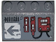 Part No: 3297pb042L  Name: Slope 33 3 x 4 with Dark Red Mechanical Panels and Dark Bluish Gray Arrow on White Background Pattern Model Left Side (Sticker) - Set 70009