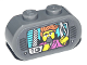Part No: 35477pb002  Name: Brick, Modified 1 x 3 with Round Ends with TV Display Female Reporter with Microphone and Ninjago Logogram 'NG' Pattern (Sticker) - Set 71741