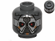 Part No: 3626cpb1009  Name: Minifigure, Head Alien with Silver Mask and Red Eyes Pattern (SW Sith Warrior) - Hollow Stud