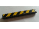 Part No: 40490pb003L  Name: Technic, Liftarm 1 x 9 Thick with Black and Yellow Danger Stripes Pattern Model Left (Sticker) - Set 8285
