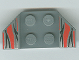 Part No: 41854pb13  Name: Vehicle, Mudguard 2 x 4 with Flared Wings, Silver/Red/Black Flame Tips Pattern
