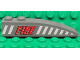 Part No: 42022pb22L  Name: Slope, Curved 6 x 1 with Red 'FIRE' and White Stripes Pattern Model Left Side (Sticker) - Set 7043