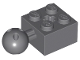Part No: 57909b  Name: Technic, Brick Modified 2 x 2 with Ball Joint and Axle Hole with 6 Holes in Ball