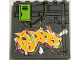 Part No: 59349pb134  Name: Panel 1 x 6 x 5 with Pipes, Lime Door, and Lime, Light Orange and Magenta Graffiti on Brick Wall Pattern (Sticker) - Set 79117