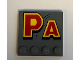 "Part No: 6179pb166  Name: Tile, Modified 4 x 4 with Studs on Edge with ""PA"" Pattern (Sticker) - Set 75936"
