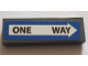 Part No: 63864pb076  Name: Tile 1 x 3 with Black 'ONE WAY' in White Arrow on Blue Background Pattern (Sticker) - Set 75827