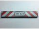 Part No: 6636pb175  Name: Tile 1 x 6 with 'EB 220' License Plate and Red and White Danger Stripes Pattern - Set 60220