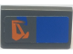 Part No: 85984pb156L  Name: Slope 30 1 x 2 x 2/3 with Orange Markings and Blue Rectangle Pattern Model Left Side (Sticker) - Set 7962