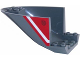 Part No: 87616pb007  Name: Aircraft Fuselage Aft Section Curved Bottom 6 x 10 with White Line and Fuel Filler Cap on Red Background Pattern on Both Sides (Stickers) - Set 60108