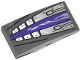 Part No: 93606pb025  Name: Slope, Curved 4 x 2 No Studs with Purple Stripe, Silver Plates and Rivets Pattern (Sticker) - Set 70722