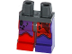 Part No: 970d30pb01  Name: Minifigure, Legs with Hips - 1 Dark Purple Left Leg, 1 Red Right Leg with Tattered Red and Dark Purple Leggings and Boots Pattern
