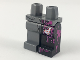 Part No: 970d42pb01  Name: Minifigure, Legs with Hips - 1 Black Left Leg with Magenta Splotches and White Boxers with Red Hearts Showing Through Tear, 1 Dark Bluish Gray Right Leg, Pattern
