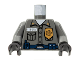 Part No: 973pb0277c02  Name: Torso Security Guard, Gold Badge, Blue Belt w/Radio Pattern / Dark Bluish Gray Arms / Black Hands