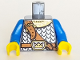 Part No: 973pb0438c02  Name: Torso Castle Fantasy Era Scale Mail, Crown on Buckle, Chest Strap Pattern / Blue Arms / Yellow Hands