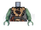 Part No: 973pb0460c01  Name: Torso Castle Fantasy Era Armor with Brown Belts and Troll Symbol Buckle Pattern / Sand Green Arms / Sand Green Hands