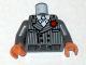 Part No: 973pb0599c01  Name: Torso Indiana Jones Pinstripe Suit Jacket, Tie, Red Flower in Lapel Pattern / Dark Bluish Gray Arms / Flesh Hands