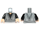 Part No: 973pb1169c01  Name: Torso SW Jedi Robe, Waist Sash and Black Open-Neck Shirt Pattern / Black Arms / Light Flesh Hands